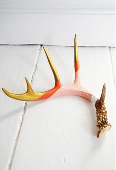 hand painted (naturally shed) deer antler by Cassandra Smith