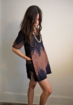 the perfect summer frock || Vintage African Black & Brown Tie Dyed Brocade Tribal Dashiki xs