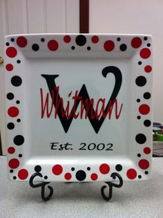 Personalized Plate Wedding Plate with Stand Last Name Plate. $32.00, via Etsy.