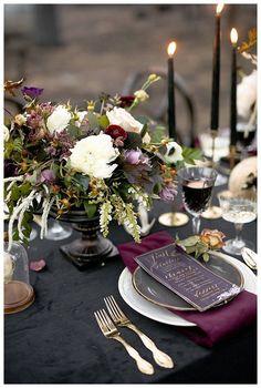 Moody Jewel-Toned Halloween Wedding Inspiration Shoot - Love Inc. Mag Black and purple elegant tabletop wedding decor Wedding Trends, Wedding Designs, Wedding Ideas, Decor Wedding, Wedding Ceremony, Rustic Wedding, Wedding Photos, Wedding Games, Wedding Advice