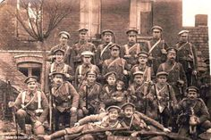 Heroes: Tunnelling Company workers pictured together at the Somme in 1916. Twenty-eight tunnellers died at La Boisselle