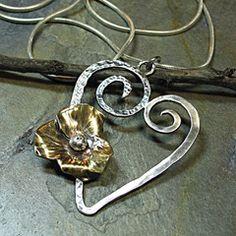 Handmade Sterling Silver Heart Pendant - Blooming Heart