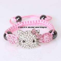 Hello Kitty Inspired Shamballa bracelet by TAILYNMADEBOUTIQUE, $11.25