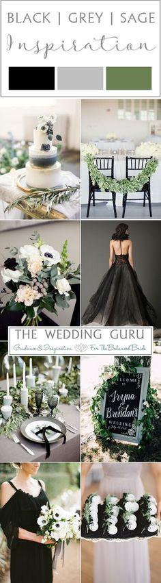 Black, grey and sage green wedding inspiration from http://www.theweddingguru.ca/wedding-inspiration-black-grey-sage/ #weddinginspiration Bouquet, wedding cake, grey wedding dress, table settings and decor. #modernweddingcakes