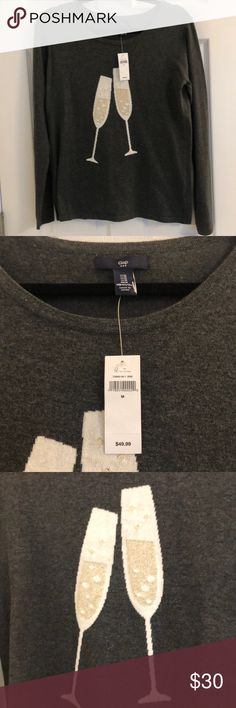 GAP Sweater NWT GAP Sweater with Champagne Glasses 🥂 NWT Charcoal Gray color Size M GAP Tops