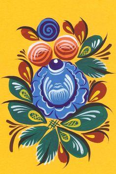 Russian Love, Russian Folk Art, Folk Art Flowers, Flower Art, Polish Folk Art, Flower Patterns, Handicraft, Artsy, Birds