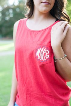 Monogrammed Tank Top with Personalized Comfort Color Tank Circle Arrow Monogrammed Comfort Color Red Tank by TheFlowerFairyShop on Etsy
