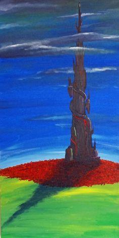 """The Dark Tower -  12"""" x 24"""" original acrylic painting"""