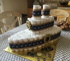 Nautical themed baby shower diaper cake blue and gold ship