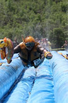 My favorite parts of the dirty dash- the slide and the costumes.