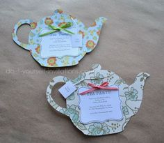 Make tea party invitations.  Template & instructions available.  DIY paper crafts for cards & decorations.: