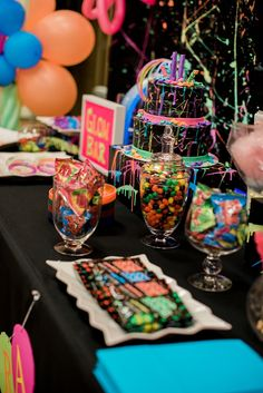Cake table from a Neon Glow Birthday Party on Kara's Party Ideas | KarasPartyIdeas.com (27)