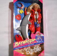 Baywatch Barbie NRFB With Dolphin Friend TV Show 1994 Mattel #Mattel #DollswithClothingAccessories
