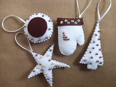 Handmade Christmas Felt Ornaments by funnydots on Etsy, Felt Ornaments, Christmas Ornaments, Felt Crafts, Handmade Christmas, Xmas, Unique Jewelry, Handmade Gifts, Holiday Decor, Projects