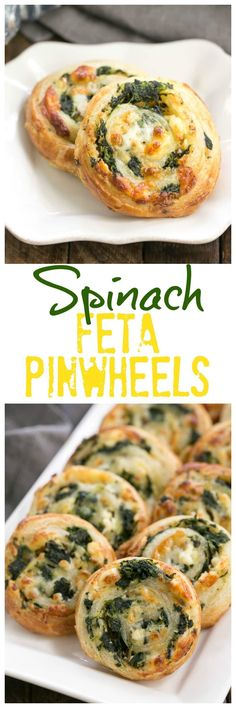 Spinach Feta Pinwheels | The marvelous flavors of Greek spanakopita without all the work! #SundaySupper @lizzydo