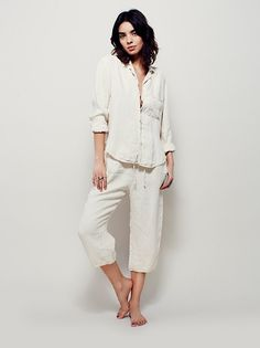Linen Sleep Set With Bag at Free People Clothing Boutique