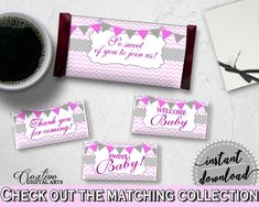 Baby shower CANDY BAR decoration wrappers and labels printable with gray and chevron pink theme for girls, Jpg Pdf, instant download - cp001 #babyshowergames #babyshower