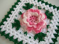 Crochet Potholder in Thread with Rose Flower in Shaded Pink --- New in Vintage Style by Acadian Crochet,