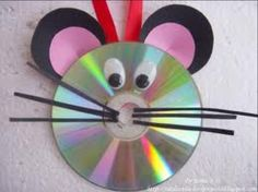Cute little mouse craft for children... Using a CD and other kind of material