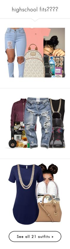 """""""highschool fits?✨"""" by dimples-dupree ❤ liked on Polyvore featuring UNIF, adidas, MICHAEL Michael Kors, Topshop, MANGO, BaubleBar, Beats by Dr. Dre, Lime Crime, Converse and Ray-Ban"""