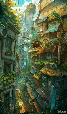 Art director Zhichao Cai (aka Trylea) uses no tricks or photocomping in his amazing, ridiculously vertical compositions, featuring incredibly pushes perspectives, impossible architecture and a plethora of detail to scour for in his incredible digital Fantasy City, Fantasy Kunst, Fantasy World, Anime Fantasy, Environment Concept, Environment Design, Art Environnemental, Anime Scenery, Environmental Art