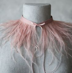 Dusty pink Feather necklace/feather choker/extravagant necklace/ red feather necklace/ bourlesque collar/sexy choker/e/nude feather collar/ Feather Jewelry, Feather Necklaces, Pink Necklace, Body Necklace, Bridal Necklace, Pink Feathers, Ostrich Feathers, Dusty Pink, Dusty Rose