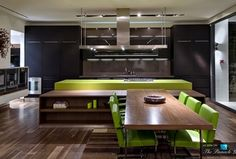 Modern Kitchen with Corian counters, Knoll Brno Chair Tubular, Silestone quartz green fun, Flush, Breakfast nook, L-shaped