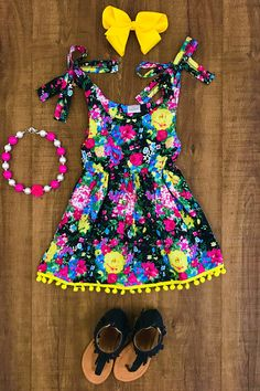 Our wildflower pom pom halter dress is one of the cutest dresses we have seen and is super trendy! Little Girl Outfits, Kids Outfits Girls, Toddler Girl Outfits, Baby Girl Fashion, Toddler Fashion, Kids Fashion, Cute Dresses, Girls Dresses, Cute Baby Clothes
