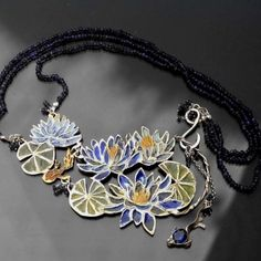 Monet's Water Lilies  | Gold-plated Silver Enamel Necklace - product images  of SCHJ  www.silverchamber...
