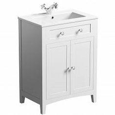 Camberley Sage 600 Door Unit & Basin - Victoria Plumb White Vanity Unit, Basin Vanity Unit, Basin Unit, Bathroom Vanity Units, Bathroom Inspo, Bathroom Ideas, Wooden Magazine Rack, Bathroom Furniture Design, Fiberglass Shower