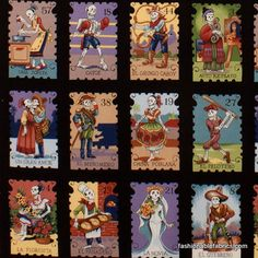 Fabric... Folklorico Cartas Marcadas on Black by Alexander Henry. I'm getting this! My next blanket.