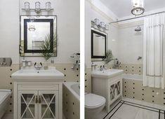 Ванная комната. Сантехника и тумба под раковину, Villeroy & Boch. Смесители, Devon & Devon. Настенный светильник, Quoizel.