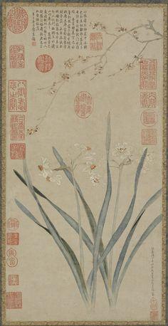 明 仇英 水仙腊梅图 49.5×24.6 cm 美国弗利尔美术馆藏 Artist: Qiu Ying, ca. 1494-1552 Medium: Ink and color on paper Dimensions: H × W (image): 49.5×24.6 cm (19 1/2×9 11/16 in) Type: Painting Origin: China Topic: flower, Ming dynasty (1368 - 1644), China, Chinese Art