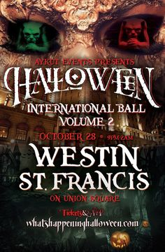 October 28 at 9:00 PM | One of A Kind Special Mega HALLOWEEN International Ball at the heart of the action in Union Square. This Halloween, the Westin St. Francis Hotel is open to costumed partiers who can dance their way through four separate rooms; each with its own musical vibe. DJs spin everything from '80s and '90s throwbacks to Latin grooves.