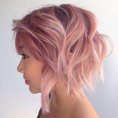 Rosa en colores pastel sucio Bob para el pelo fino