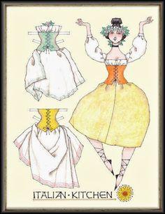 Miss Missy Paper Dolls: Italian Kitchen 1 of 2