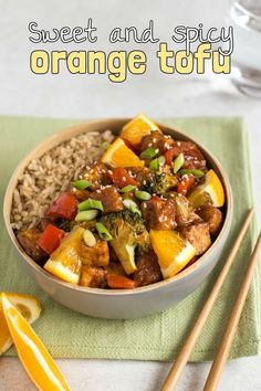 Sweet and spicy orange tofu - the sticky homemade sauce makes the perfect vegan alternative to your favourite Chinese take away! Vegetarian Pasta Dishes, Autumn Recipes Vegetarian, Veggie Recipes Healthy, Tofu Dishes, Tofu Recipes, Savoury Dishes, Vegan Dishes, Vegetarian Entrees, Meatless Recipes