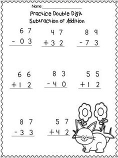 Double Digit Adding & Subtracting w/ NO regrouping Spring Printables Addition And Subtraction Practice, Subtraction Worksheets, 1st Grade Math Worksheets, First Grade Math, Math Charts, Preschool Colors, Adding And Subtracting, Math For Kids, Math Lessons