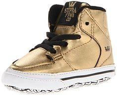 Supra Baby Crib Vaider Shoes Goldblack Unisex Soft Bottom Sneakers New Borns Size 2 ** Check out this great product.Note:It is affiliate link to Amazon.