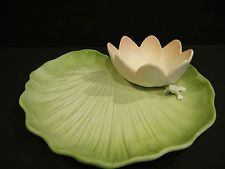 VINTAGE CHIP AND DIP DISH BY FITZ AND FLOYD - FROG ON LILY PAD