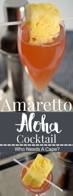 Amaretto Aloha Cocktail - Who Needs A Cape? - - Amaretto Aloha Cocktail – Who Needs A Cape? ► Drink Group ◄ The Amaretto Aloha Cocktail sweeps you away to the tropics! A simple beverage to prepare, make a pitcher for your next party! Non Alcoholic Drinks, Bar Drinks, Cocktail Drinks, Simple Cocktail Recipes, Cocktail Shaker Recipes, Vodka Cocktails, Easy Cocktails, Dessert Drinks, Party Desserts
