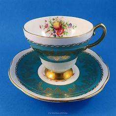 Stunning Teal Blue Fruit & Floral Center Foley Tea Cup and Saucer Set