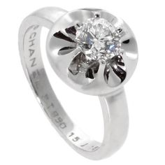 Chanel Solitaire Platinum Diamond Ring | From a unique collection of vintage fashion rings at https://www.1stdibs.com/jewelry/rings/fashion-rings/