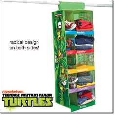 Teenage Mutant Ninja Turtles Days-of-the-Week Organizer Contains five pockets for clothes and five pockets for shoes. Includes stickers and insert cards for personalization.  http://www.youravon.com/REPSuite/static/catalog/2015/05/en/detail/p122t2.html #teenagemutantninjaturtles