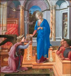 The Annunciation is a painting by the Italian Renaissance painter Filippo Lippi. Dating to of it is housed in the Galleria Nazionale d'Arte Antica of Palazzo Barberini, Rome. Italian Renaissance Art, Renaissance Kunst, Renaissance Portraits, Italian Paintings, European Paintings, Tempera, Web Gallery Of Art, Art Ancien, Architecture Sketches