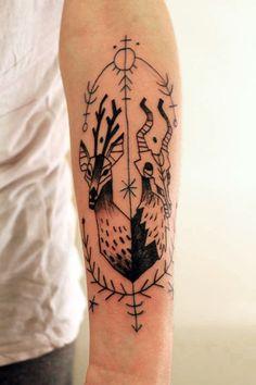 deer and goat tarmasz #arm #forearm #tattoos