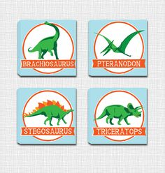 Set of 4 Dinosaur Mounted Canvas Wall Art - Perect for a little boys room! by JbeeDesign on Etsy