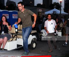 Stone Gossard and Eddie Vedder of Pearl Jam arrive backstage at Lollapalooza at Grant Park on August 5, 2007 in Chicago, lllinois.