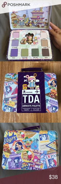 Tokidoki airways makeup palette Brand new, still in packaging. Photos of actual product are from an older tin that I had opened. Comes with eight eyeshadows & donutella keychain. Tin is usable after eyeshadows are done. Took additional pictures to show still in plastic & to show some tarnish on one of the metal plates near the handle. tokidoki Makeup Eyeshadow