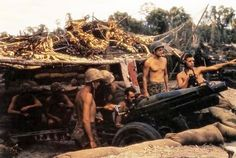 A 75mm pack howitzer of the 12th Marines, in a semi-fortified firing position on Bougainville late in 1943.